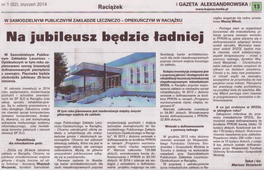Gazeta Aleksandrowska styczeń 2014